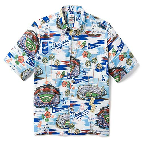 Reyn Spooner Men's Los Angeles Dodgers MLB Classic Fit Hawaiian Shirt, Scenic 2019, Medium ()