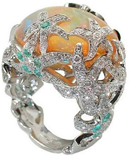 Dokis 925 Silver Ring Woman Man White Fire Opal Moon Stone Wedding Engagement Size6-10 | Model RNG - 4075 | 10
