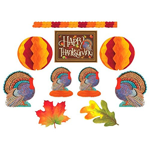 Amscan 240045 Colors of Autumn Thanksgiving Party Assorted Room Decorating Kit, Paper, Multicolor