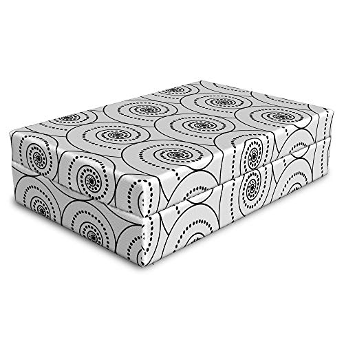 (Lunarable Geometric Pet Bed, Modern Art Pattern with Monochrome Helix Figure with Dots and Lines, Animal Mat Foam and Stylish Printed Cover, 24