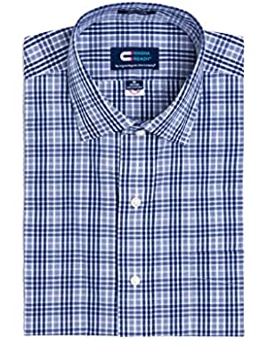 Magnetically Infused Navy & White Grid Mens Long Sleeve Dress Shirt