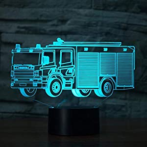 Creative 3D Fire Truck Night Light 7 Colors Changing USB Power Touch Switch Decor Lamp Optical Illusion Lamp LED Table Desk Lamp Children Kids Brithday Christmas Gift