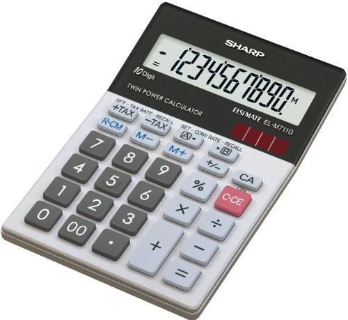 Sharp Tischrechner EL-M711GGY, 10 Stellen, Glas Top Design