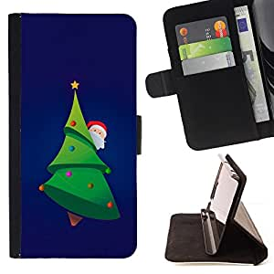 DEVIL CASE - FOR Samsung Galaxy Note 4 IV - Christmas Tree Picea Santa Green Beard Hat - Style PU Leather Case Wallet Flip Stand Flap Closure Cover