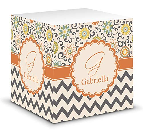 Swirls, Floral & Chevron Sticky Note Cube (Personalized)