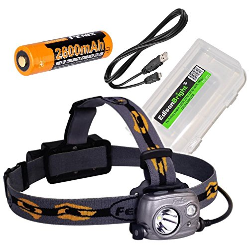 (Fenix HP25R 1000 Lumen USB rechargeable CREE LED Headlamp (neutral white), 2 X Fenix 18650 rechargeable Li-ion batteries with EdisonBright BBX3 battery carry case bundle)