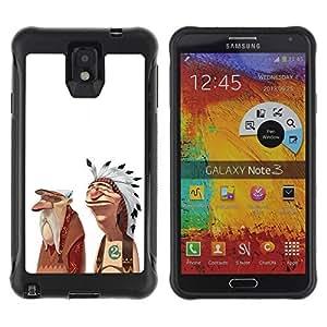 Be-Star Unique Pattern Anti-Skid Hybrid Impact Shockproof Case Cover For SAMSUNG Galaxy Note 3 III / N9000 / N9005 ( Indian American Native Friendship Art Man ) Kimberly Kurzendoerfer