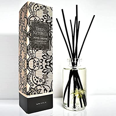 Urban Naturals Jasmine Gardenia Home Fragrance Reed Sticks Diffuser Set | Scented with Timeless Jasmine & Gardenia with a hint of honeysuckle | Great House warming Gift
