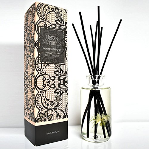 Urban Naturals Jasmine Gardenia Home Fragrance Reed Sticks Diffuser Set | Scented with Timeless Jasmine & Gardenia with a hint of honeysuckle | Great House warming Gift by Urban Naturals