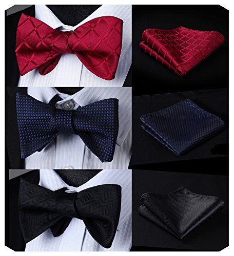 Tie Squares (HISDERN 3 Packs Classic Solid Color Self Tie Bow tie & Pocket Square Sets Good Gift for Men)