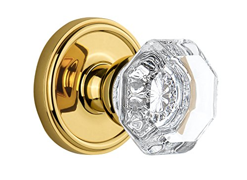 Grandeur Georgetown Rosette with Chambord Crystal Knob, Single Dummy, Lifetime Brass