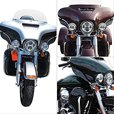 NTHREEAUTO Adjustable Side Heat Shield, Air Wind Deflectors, Wing Windshield Cover Compatible with 2014-2020 Harley Street Glide, Electra Glide, Touring and Tri Glide: Automotive