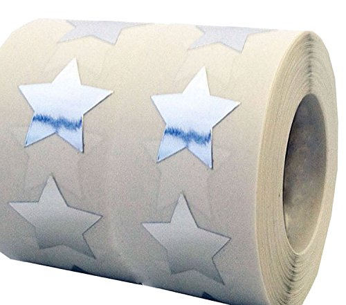 "Smart Sticker Silver Star Shape Stickers - 3/4"" Inch - 500 Per Roll - Shiny Metallic Foil - Teacher Supplies (Roll Stickers Honor)"