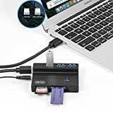 Flash Memory Card Reader, UNITEK 3-Port USB 3.0 USB Hub SD MS CF TF M2 Card Reader Combo with 5V 2A Adapter Supports SanDisk Compact Flash Memory Card & Lexar Professional CompactFlash Card