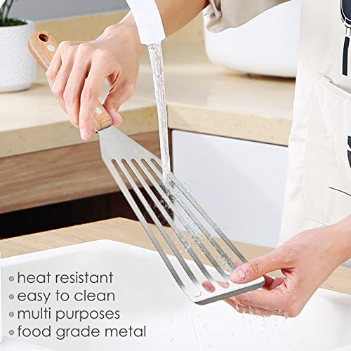 Fish Spatula Set of 2, HaSteeL Stainless Steel Slotted Spatula Turner with Riveted Wooden Handle, Professional Metal Spatulas Great for Kitchen Cooking Flipping Frying & Grilling, 2 x Hooks
