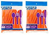 Heavy Duty Plastic Cutlery Set in Orange - 32 Spoons, 32 Forks, 32 Knives - Perfect for Halloween or Thanksgiving