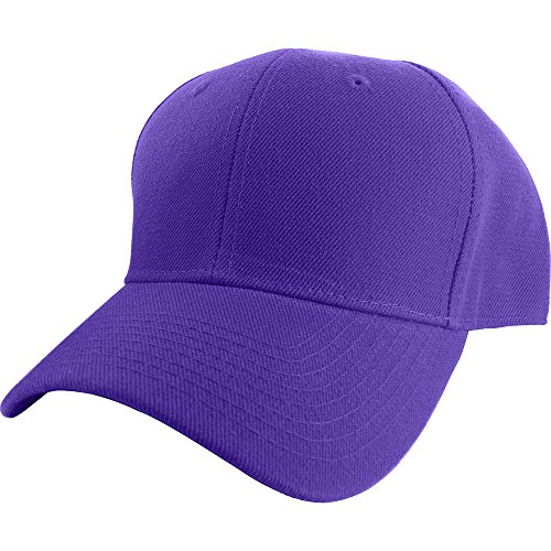 Purple Fitted Hat Cap - Plain Curved Fitted Sized Baseball Cap