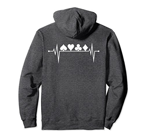 Unisex Poker Heartbeat Card Suit Shirt Hoodie Card Player Gift Large Dark Heather