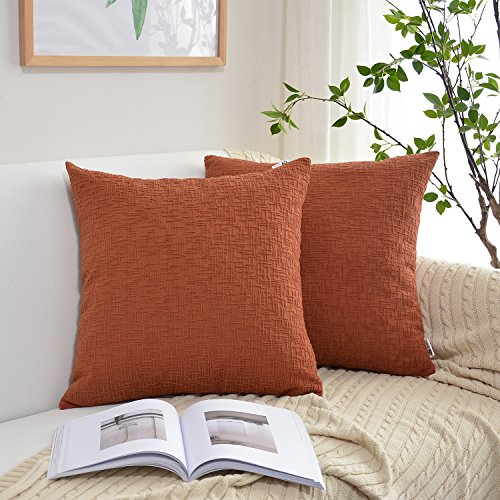 Kevin Textile Decor Solid Decorative Toss Pillow Case Striped Jacquard Christmas Cushion Cover with Hidden Zipper for Couch/Sofa/Car, 20x20-inch (50x50cm), 2 Pieces, Burnt Brick