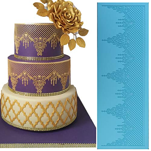 - Anyana sugar edible jewels lace cake lace Embossing Mat chandelilac Texture fondant impression lace mat crown tiara decorating mold gum paste cupcake topper tool icing candy imprint moulds sugarcraft
