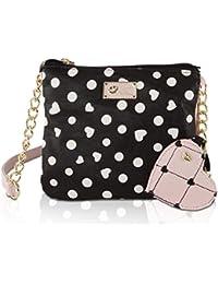 Luv Betsey Johnson Heart Double Zip Compartment Mini Pouch Crossbody Bag - Dots Black Blush