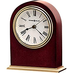 Howard Miller Craven Table Clock 645-401 - Wooden & Round with Quartz Alarm Movement
