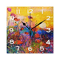 Naanle Modern Colorful Poppies Painting Art Print Square Wall Clock Decorative, 8 Inch Battery Operated Quartz Analog Quiet Desk Clock for Home,Office,School(Floral)