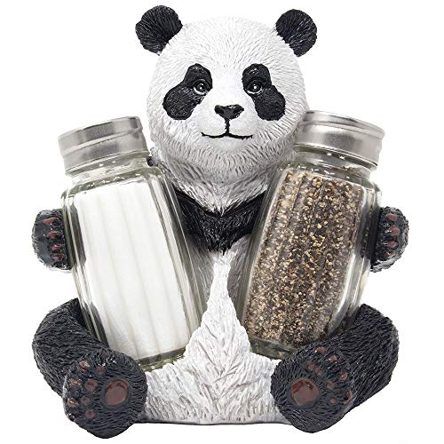 Panda Bear Glass Salt & Pepper Shaker Set As Decorative Spice Rack or Display Stand Holder Figurine for Zoo Animal and Asian Kitchen Décor Table Centerpieces As Far East Gifts for Dining Room