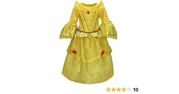 YuDanae Girls Belle Costume Party Beauty Dress for Toddler Girls Aged 2-7