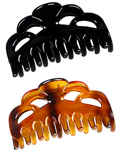 (ACCGLORY Large Plastic Hair Clips for Women Thick Hair Claw Clamps(Arc-Black+Brown-M))