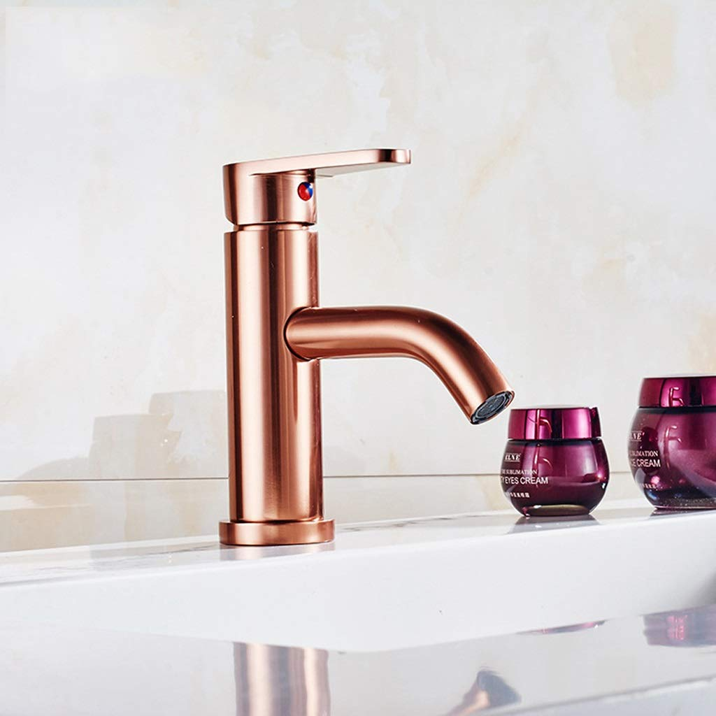 Household Space Aluminum Rose Gold Kitchen Faucet   Wash Basin   Hot And Cold Water Mixer (Color : D)