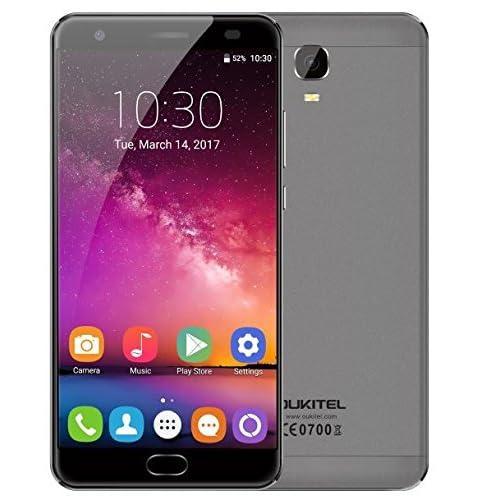 ((New Pubblicata)) OUKITEL K6000 Plus - Android 7.0 6080mAh batteria Smartphone 5.5 pollici 4GB di RAM 64GB ROM MTK6750T Octa core da 1.5GHz 8.0MP + 16.0MP fotocamera Fast Charge Fingerprint anteriore GPS - Grigio