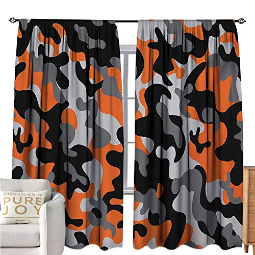 bybyhome CamoBlackout Window CurtainVibrant Artistic Camouflage Lattice Like Service Theme Modern Design PrintDecor Curtains by W72 xL84 Orange Grey Black ()