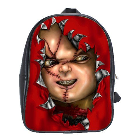 Chucky Child's Play Horor Movie Leather Notebook Laptop Macbook Ipad Bag School Backpack Rucksack Bags