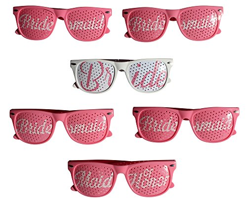 Party Wedding Sunglasses, 6pc set! Perfect for Bachelorette Parties, Party Favors, Wedding Photo Booths (Pink, - Favors Sunglasses For Wedding