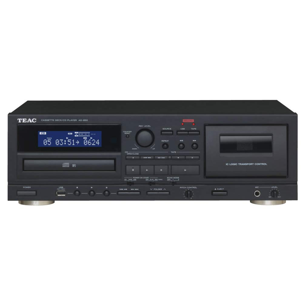 Teac Ad-850 Cassette and CD Player with USB-Recorder, Karaoke Mic-in by Teac