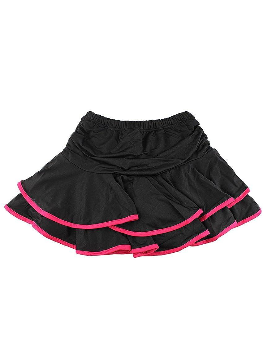 MFrannie Girls Two Layer Ruffle Elastic Waist Active Latin Dancing Skirt