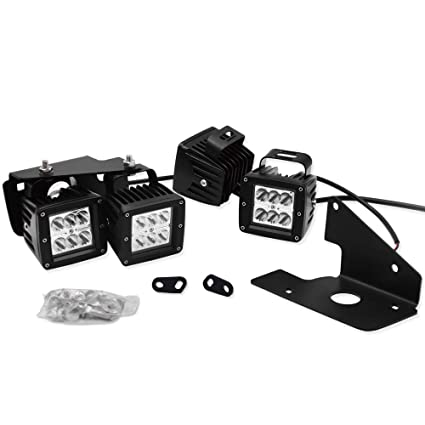 amazon com 3 inch 18w led light pods w front bumper hidden led fog  3 inch 18w led light pods w front bumper hidden led fog light mount bracket