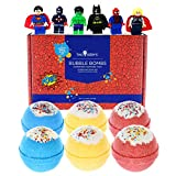 Kids Superhero BUBBLE Bath Bombs with Surprise Toy Minifigures Inside for Boys and Girls by Two Sisters Spa - Set of 6 Large Fizzies in Gift Box. Safe, Fun Colors, Scented, Hand-made in the USA