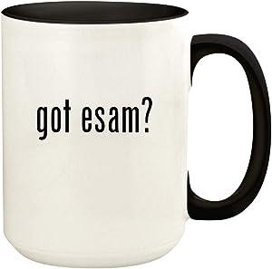 got esam? - 15oz Ceramic Colored Handle and Inside Coffee Mug Cup, Black
