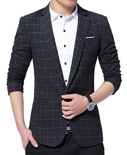 Fensajomon Mens Formal Plaid Lapel Single Button Slim Fit Suit Blazer Jacket supplier