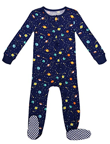 Footed Pajama Set (Baby Boys Onesie Sleepwear Long Sleeve Top & Non-Skid Toddler Footed Pajama Set (3T, Blue Depths))