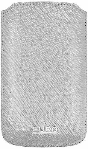 Puro PCSLIMSILVER Leather Slim Essential Case für Apple iPhone/iPod silber