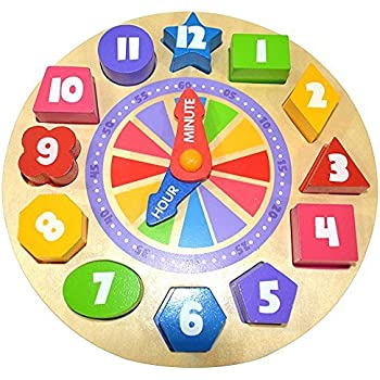 Pidoko Kids Shapes Sorting and Teaching Clock - My first Learning Clock with Glow in the Dark feature - Wooden Educational Toy