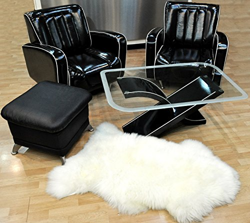 DX-Exclusive Wear XL Genuine White Sheepskin Rug, Natural Fur, Soft Single pelt 4ft. x 2,5ft. DSO-0001a
