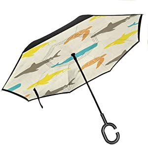 Windproof For Travel Sea Animals,Pattern with Whale,Shark and Turtle Aquarium Doodle Style Marine Life,Ivory Taupe Peach C-Hook Hands For Car