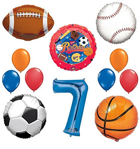 The Ultimate Sports Theme 7th Birthday Party Supplies and Balloon Decorating Kit ()