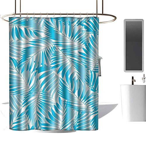 Qenuan Waterproof Fabric Shower Curtain Leaves,Miami Style Tropical Aquatic Palm Leaves with Exotic Colors Summer Beach,Turquoise Aqua Blue,Curtain for Bathroom & Toilet 36