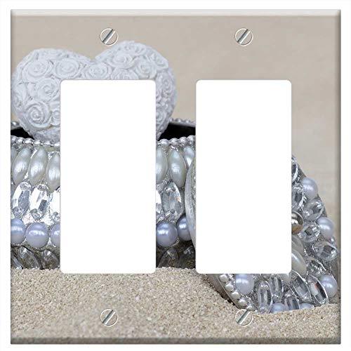 Switch Plate Double Rocker/GFCI - Jewelry Box Beads Gloss Silver Nacre Jewellery 1 ()