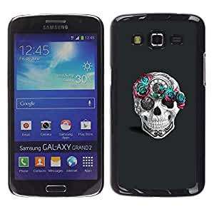 Ihec Tech Flores rosadas del trullo gris Tiempo Blanca / Funda Case back Cover guard / for Samsung Galaxy Grand 2